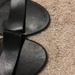 Shoes - Black leather strap sandals/slides